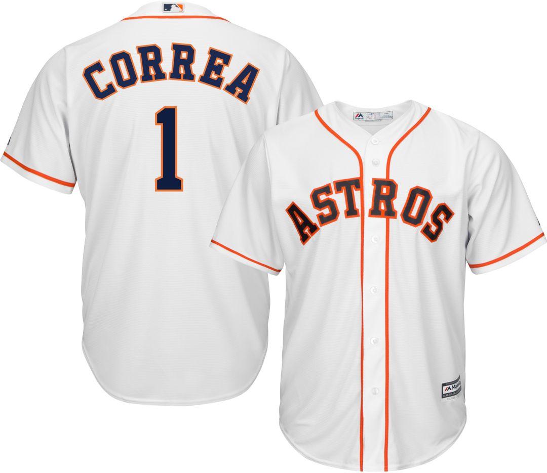 best cheap 9d9de e42f3 Majestic Men's Replica Houston Astros Carlos Correa #1 Cool Base Home White  Jersey