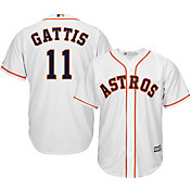 Majestic Men's Replica Houston Astros Evan Gattis #11 Cool Base Home White Jersey