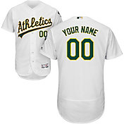 Majestic Men's Custom Authentic Oakland Athletics Flex Base Home White On-Field Jersey