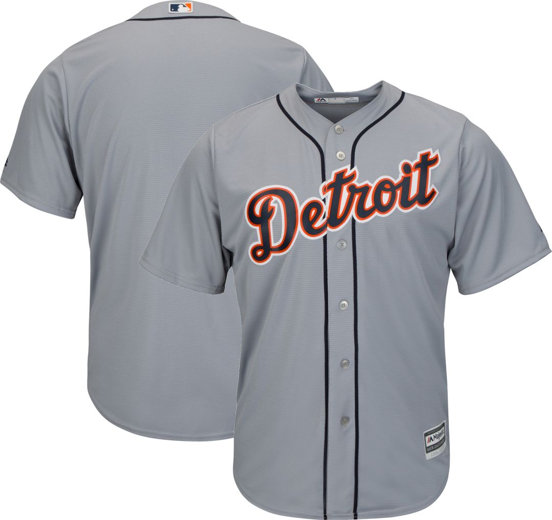 new arrival 4861c 6986c Majestic Men's Replica Detroit Tigers Cool Base Road Grey Jersey