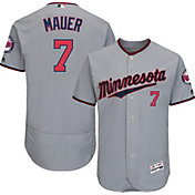 Majestic Men's Authentic Minnesota Twins Joe Mauer #7 Road Grey Flex Base On-Field Jersey