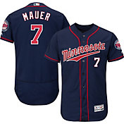 Majestic Men's Authentic Minnesota Twins Joe Mauer #7 Alternate Navy Flex Base On-Field Jersey
