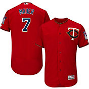 Majestic Men's Authentic Minnesota Twins Joe Mauer #7 Alternate Red Flex Base On-Field Jersey