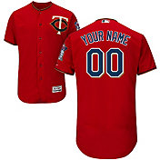 Majestic Men's Custom Authentic Minnesota Twins Flex Base Alternate Red On-Field Jersey