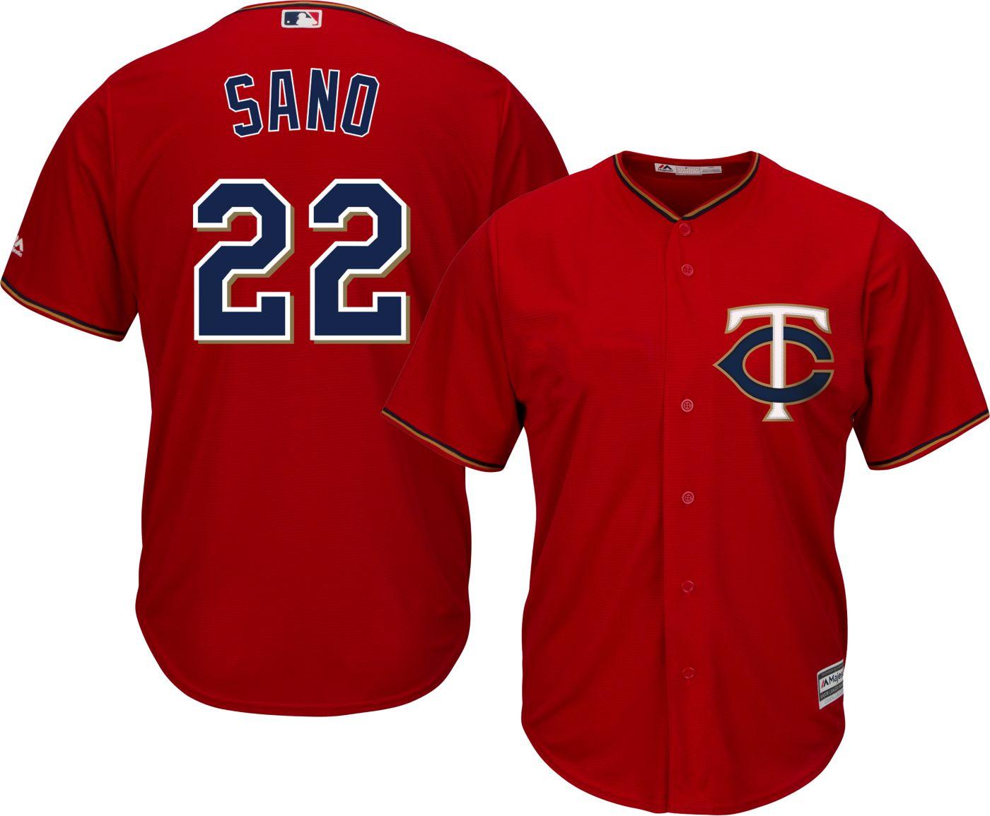 Majestic Men's Replica Minnesota Twins Miguel Sano #22 Cool Base Alternate Red Jersey