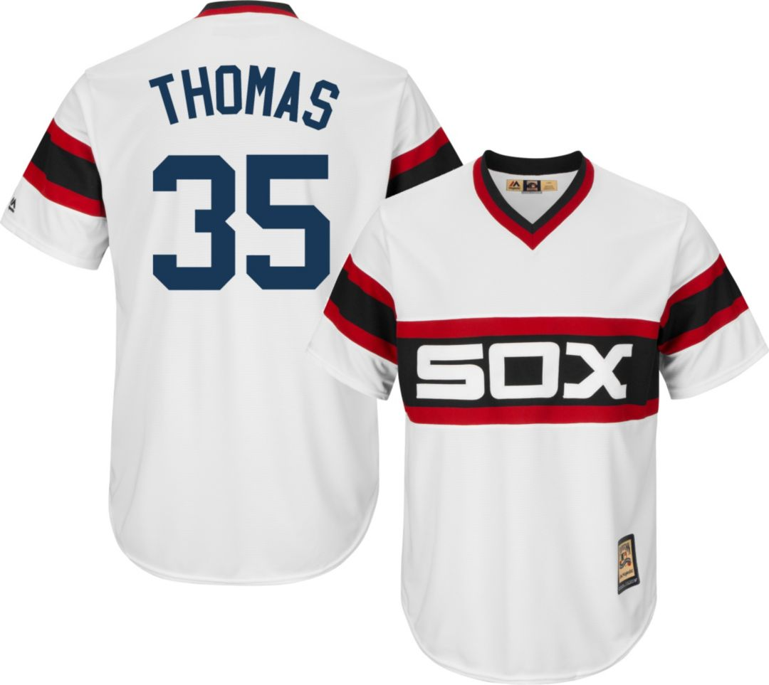 finest selection 073af e6c6e Majestic Men's Replica Chicago White Sox Frank Thomas Cool Base White  Cooperstown Jersey