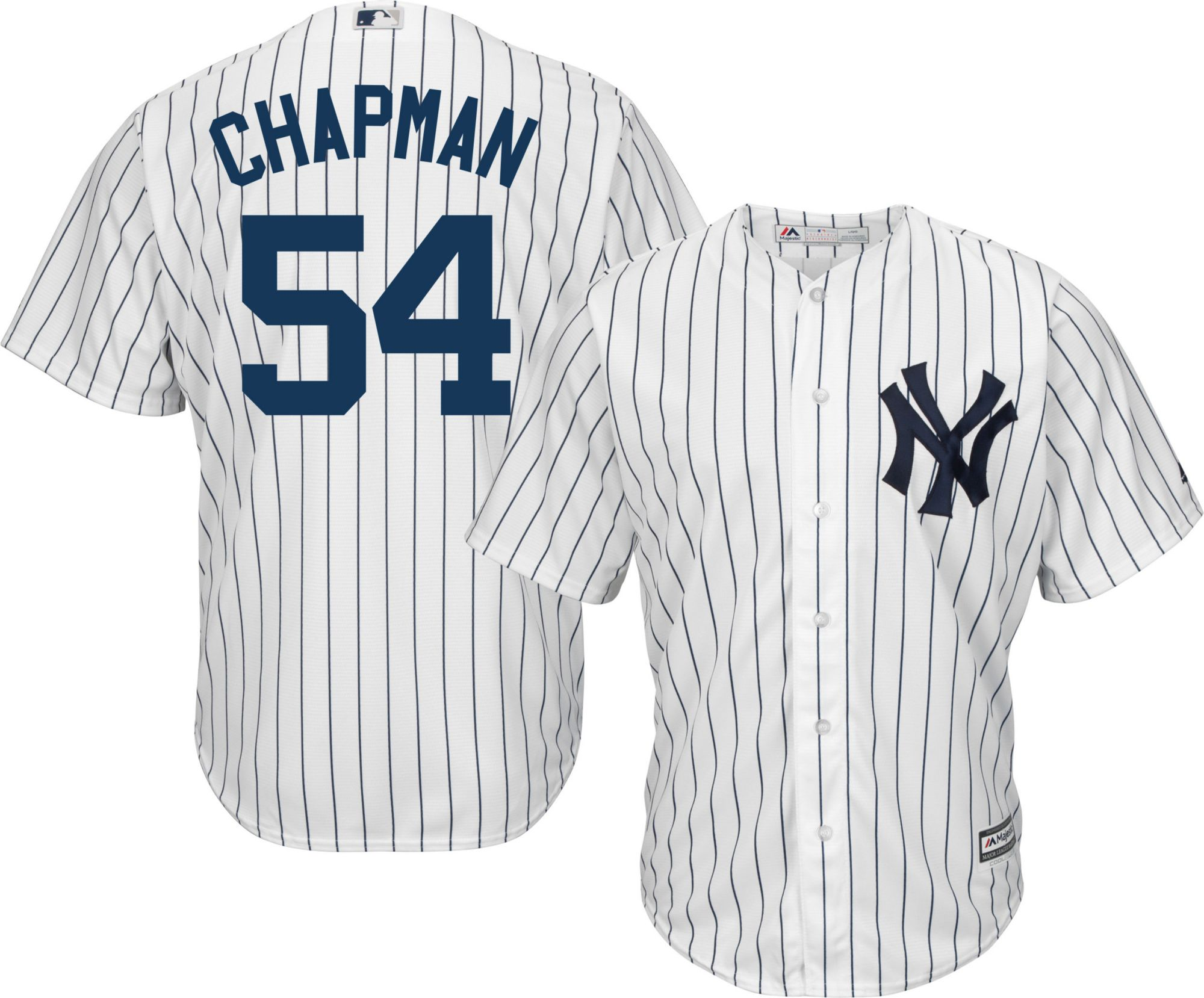 new concept ccc1a b74cc Majestic Men's Replica New York Yankees Aroldis Chapman #54 Cool Base Home  White Jersey