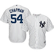 Majestic Men's Replica New York Yankees Aroldis Chapman #54 Cool Base Home White Jersey
