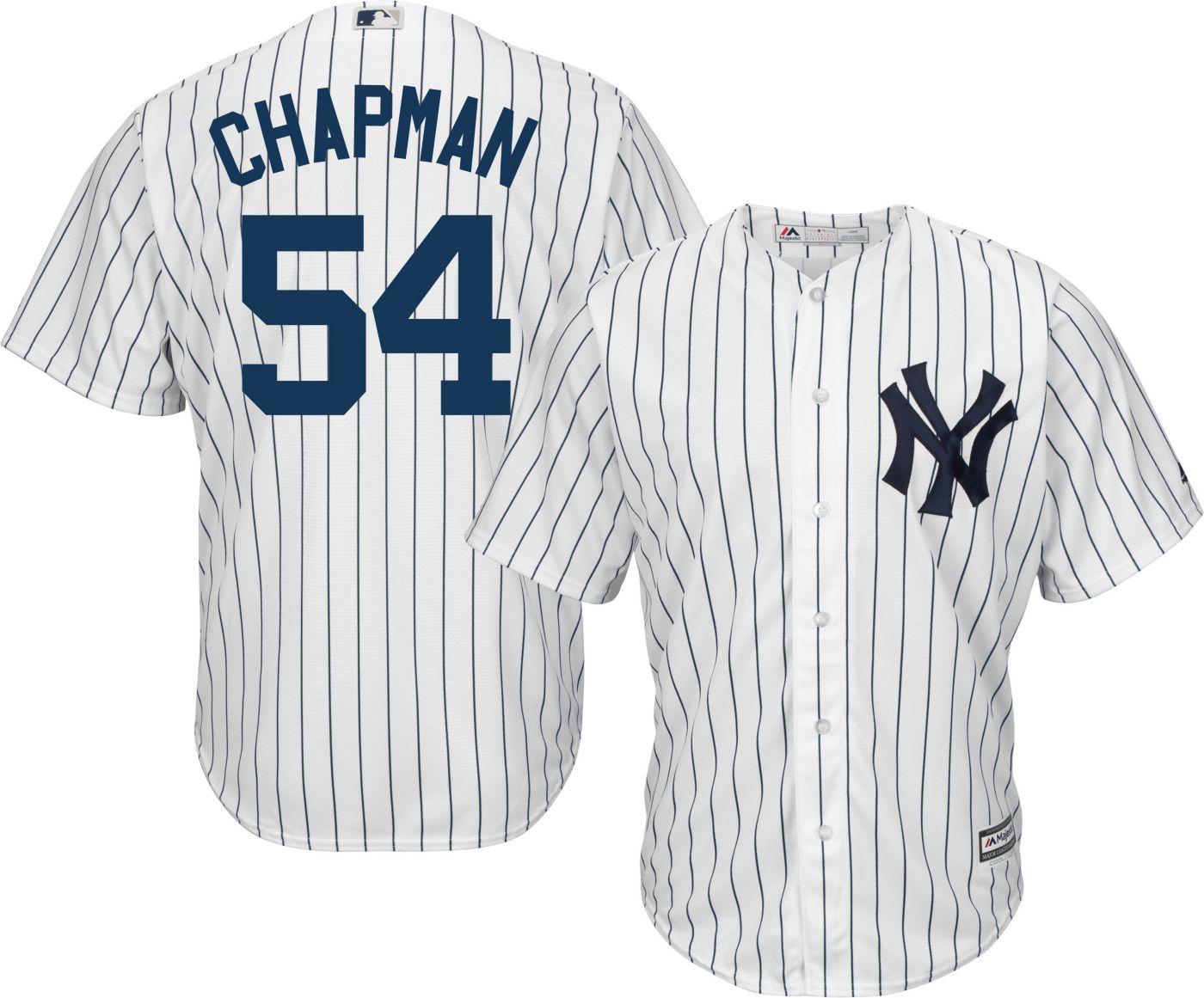 Majestic Men's Replica New York Yankees Aroldis Chapman #54 Cool Base Home White Jersey