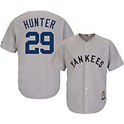 Majestic Men's Replica New York Yankees Catfish Hunter Cool Base Grey Cooperstown Jersey