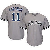 Majestic Men's Replica New York Yankees Brett Gardner #11 Cool Base Road Grey Jersey