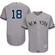 Majestic Men's Authentic New York Yankees Didi Gregorius #18 Road Grey Flex Base On-Field Jersey