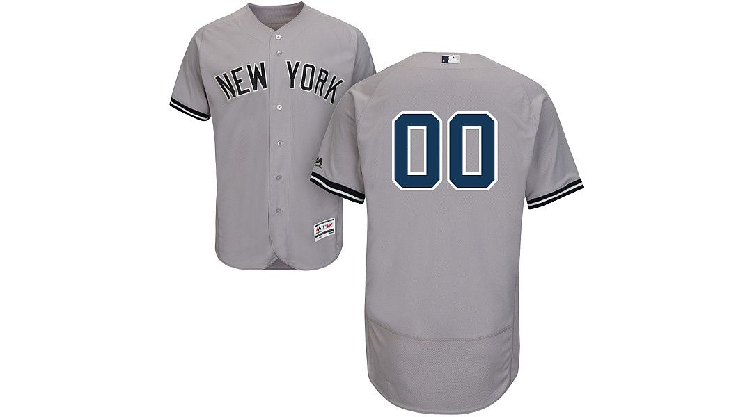 25f93b7f Majestic Men's Full Roster Authentic New York Yankees Flex Base Road Grey  On-Field Jersey