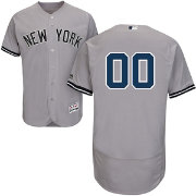 Majestic Men's Custom Authentic New York Yankees Flex Base Road Grey On-Field Jersey