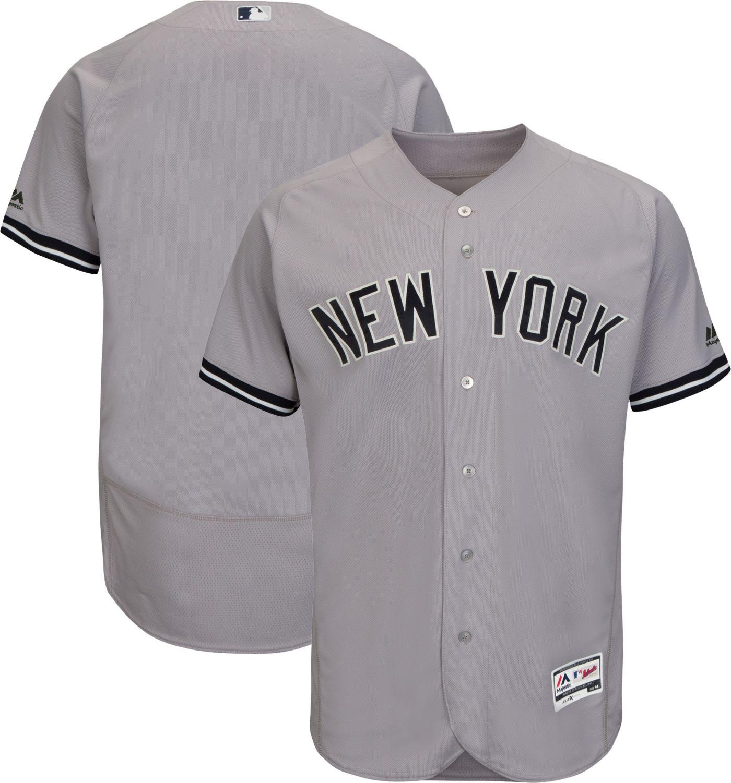 Majestic Men's Authentic New York Yankees Road Grey Flex Base On-Field Jersey