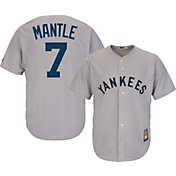 Majestic Men's Replica New York Yankees Mickey Mantle Cool Base Grey Cooperstown Jersey
