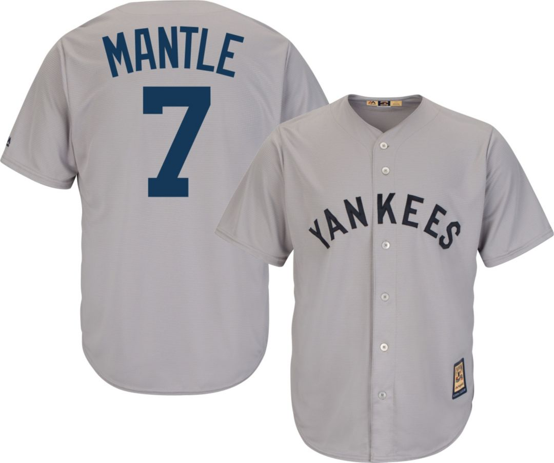 the latest 83c40 2a05d Majestic Men's Replica New York Yankees Mickey Mantle Cool Base Grey  Cooperstown Jersey