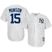 Majestic Men's Replica New York Yankees Thurman Munson Cool Base White Cooperstown Jersey