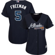 Majestic Women's Replica Atlanta Braves Freddie Freeman #5 Cool Base Alternate Navy Jersey