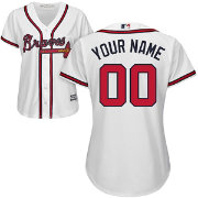 Majestic Women's Custom Cool Base Replica Atlanta Braves Home White Jersey