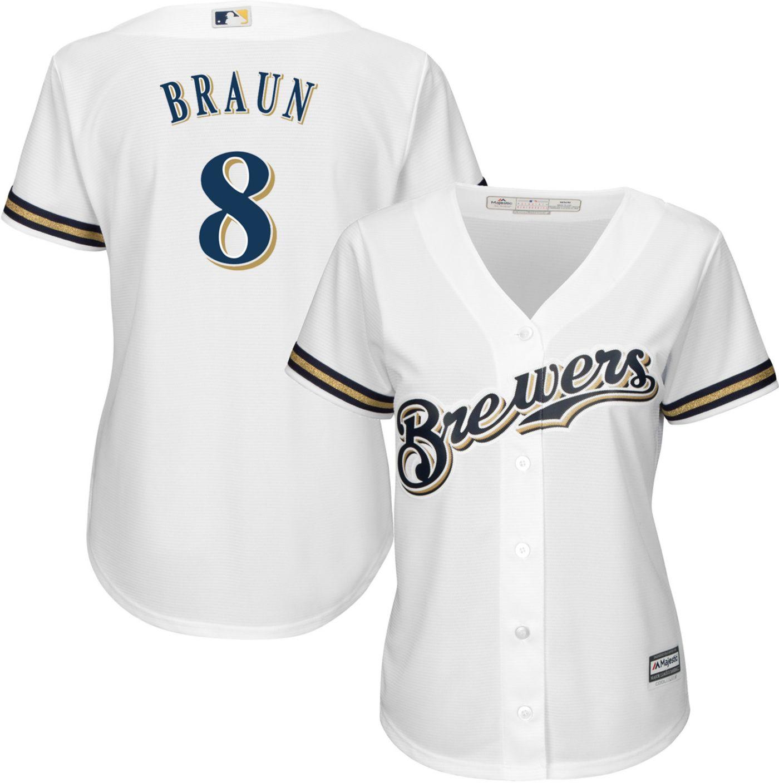 Majestic Women's Replica Milwaukee Brewers Ryan Braun #8 Cool Base Home White Jersey