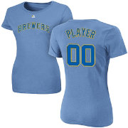 Majestic Women's Full Roster Milwaukee Brewers Light Blue T-Shirt