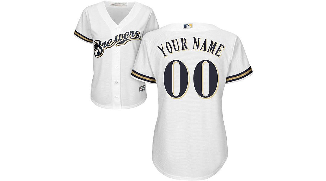 promo code 0ce59 931ea Majestic Women's Custom Cool Base Replica Milwaukee Brewers Home White  Jersey