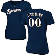Majestic Women's Custom Milwaukee Brewers Navy T-Shirt