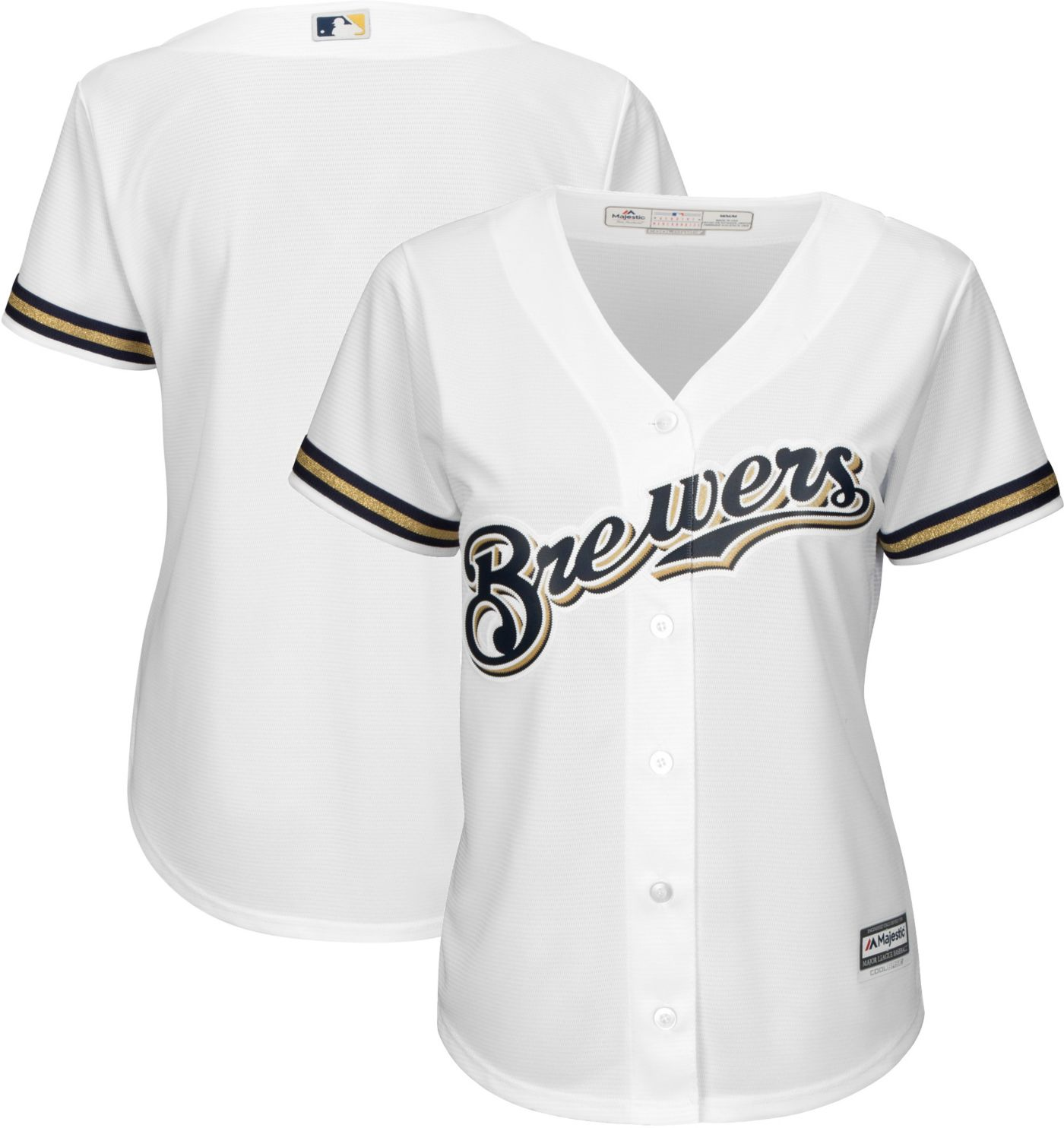 Majestic Women's Replica Milwaukee Brewers Cool Base Home White Jersey