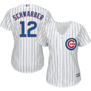 Majestic Women's Replica Chicago Cubs Kyle Schwarber #12 Cool Base Home White Jersey