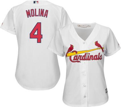 Majestic Women s Replica St. Louis Cardinals Yadier Molina  4 Cool Base  Home White Jersey. noImageFound fcb4666e6