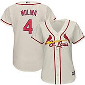 Majestic Women's Replica St. Louis Cardinals Yadier Molina #4 Cool Base Alternate Ivory Jersey
