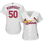 Majestic Women's Replica St. Louis Cardinals Adam Wainwright #50 Cool Base Home White Jersey