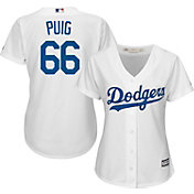 Majestic Women's Replica Los Angeles Dodgers Yasiel Puig #66 Cool Base Home White Jersey