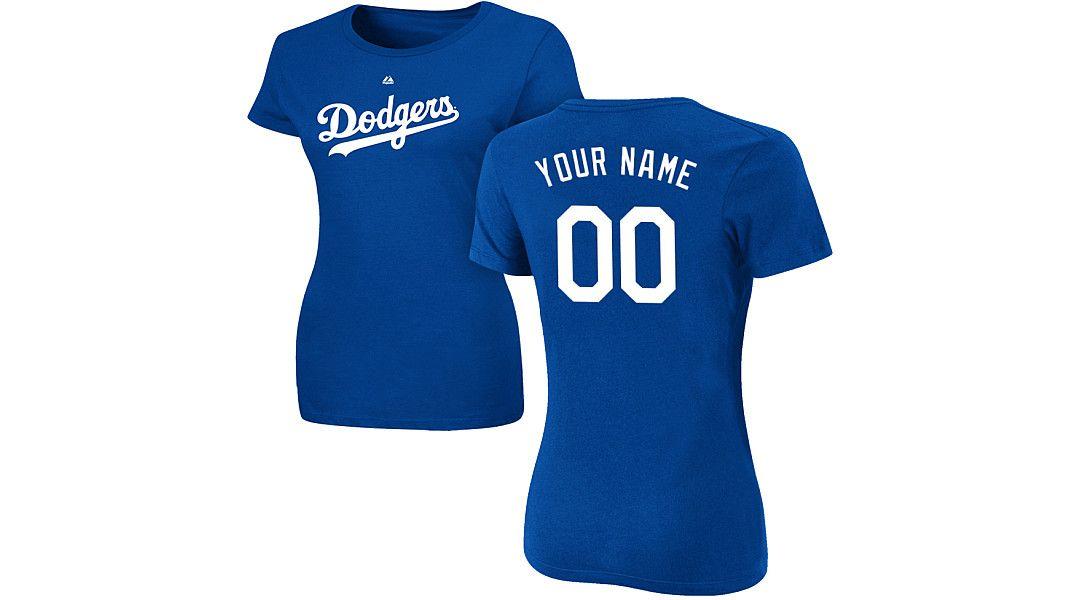 buy online 9944e 09bfe Majestic Women's Custom Los Angeles Dodgers Royal T-Shirt