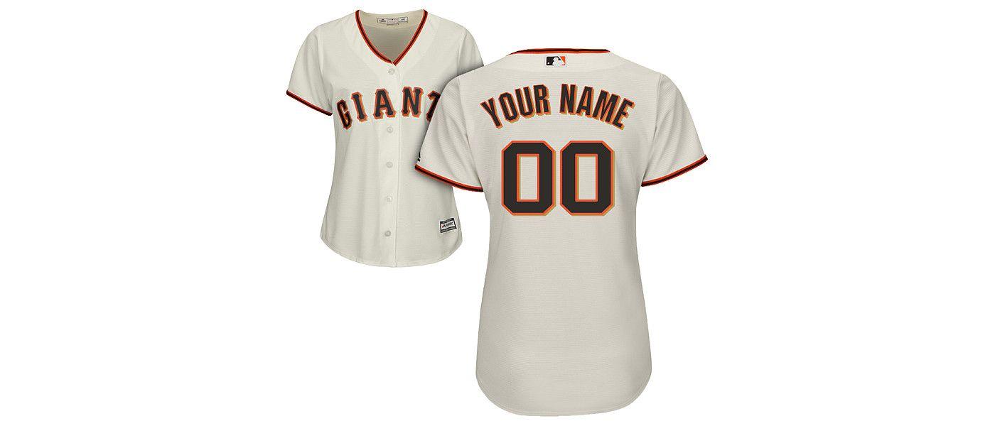 Majestic Women's Custom Cool Base Replica San Francisco Giants Home Ivory Jersey