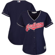 Majestic Women's Replica Cleveland Indians Cool Base Alternate Navy Jersey