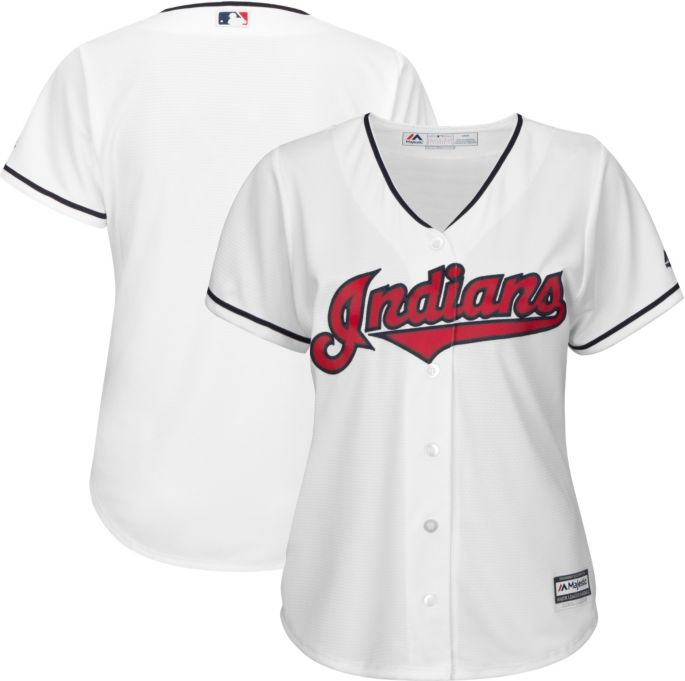 ea76fc35 Majestic Women's Replica Cleveland Indians Cool Base Home White Jersey