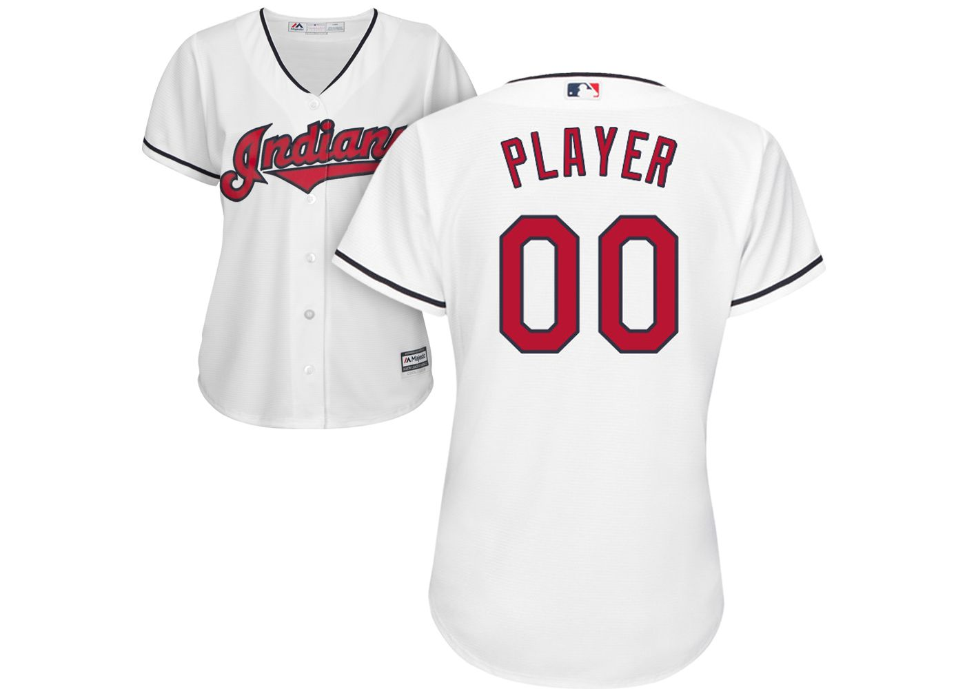 Majestic Women's Full Roster Cool Base Replica Cleveland Indians Home White Jersey