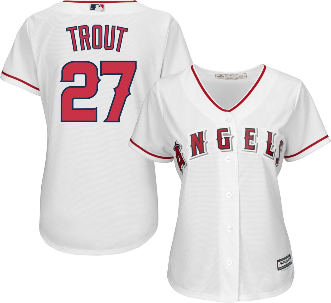 Majestic Women's Replica Los Angeles Angels Mike Trout #27 Cool Base Home White Jersey