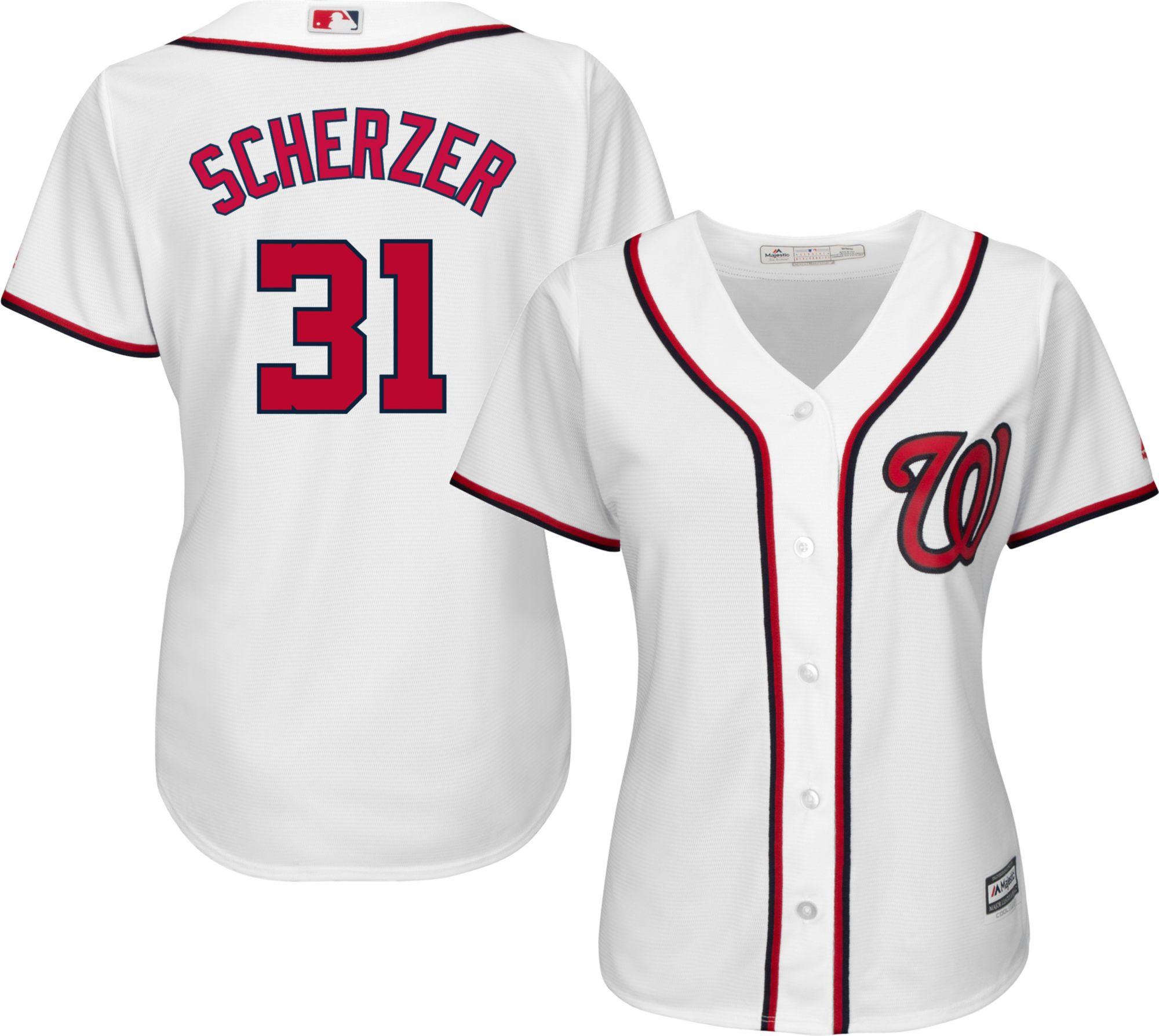 59d2b994662 ... where to buy majestic womens replica washington nationals max scherzer  31 cool base home white jersey