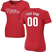 Majestic Women's Custom Philadelphia Phillies Red T-Shirt