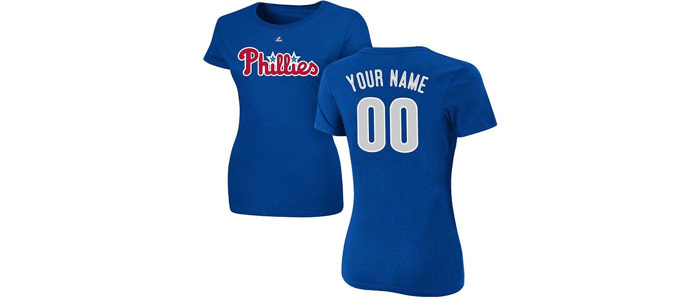 Majestic Women's Custom Philadelphia Phillies Royal T-Shirt