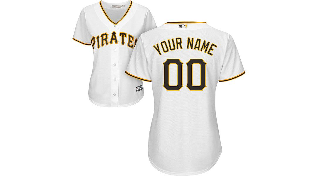 the best attitude 17393 14cd8 Majestic Women's Custom Cool Base Replica Pittsburgh Pirates Home White  Jersey