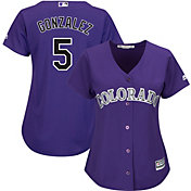 Majestic Women's Replica Colorado Rockies Carlos Gonzalez #5 Cool Base Alternate Purple Jersey