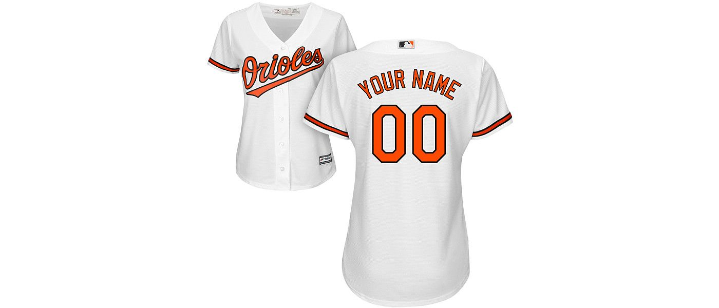 Majestic Women's Custom Cool Base Replica Baltimore Orioles Home White Jersey