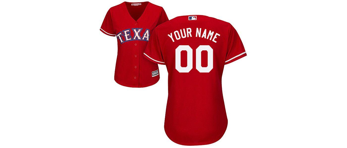 Majestic Women's Custom Cool Base Replica Texas Rangers Alternate Red Jersey