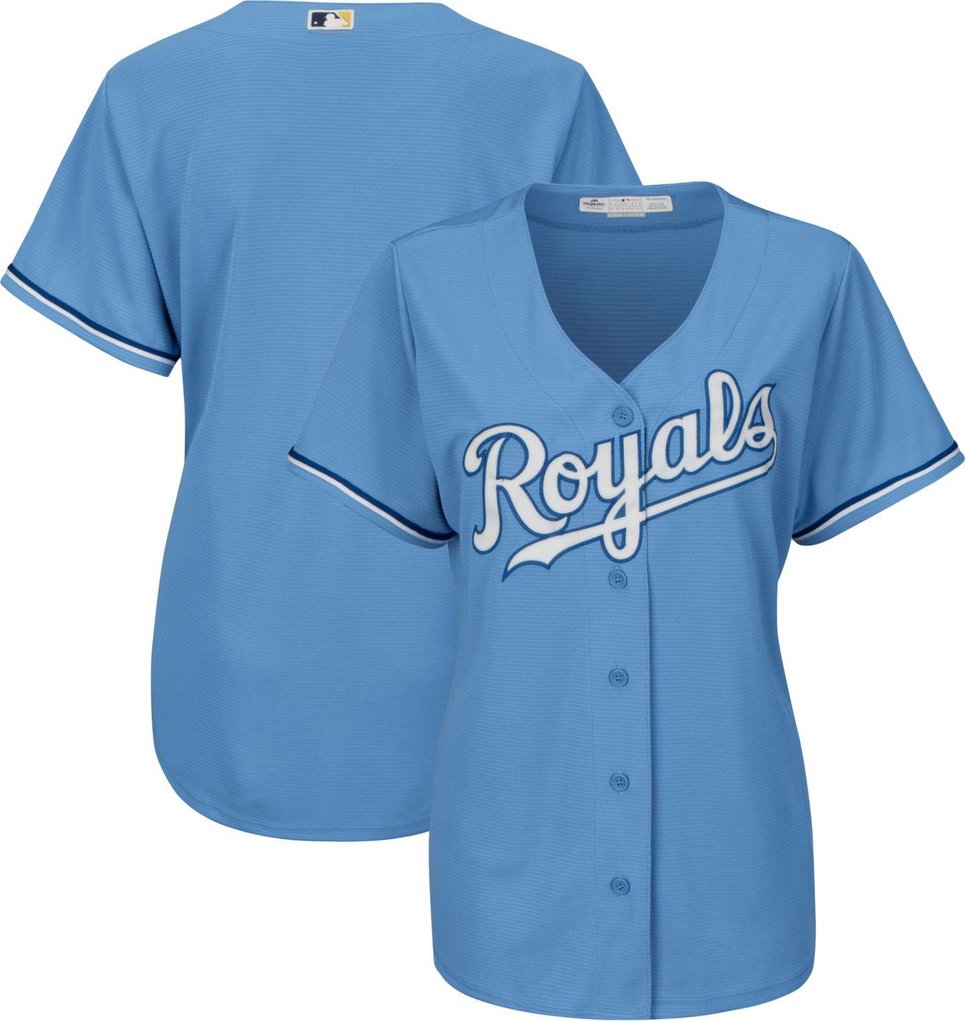 Majestic Women's Replica Kansas City Royals Cool Base Alternate Light Blue Jersey
