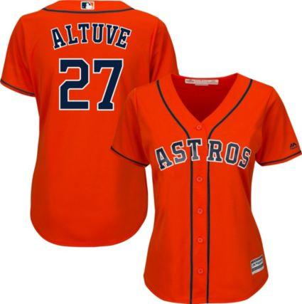 Majestic Women s Replica Houston Astros Jose Altuve  27 Cool Base Alternate  Orange Jersey. noImageFound 2a8b21717