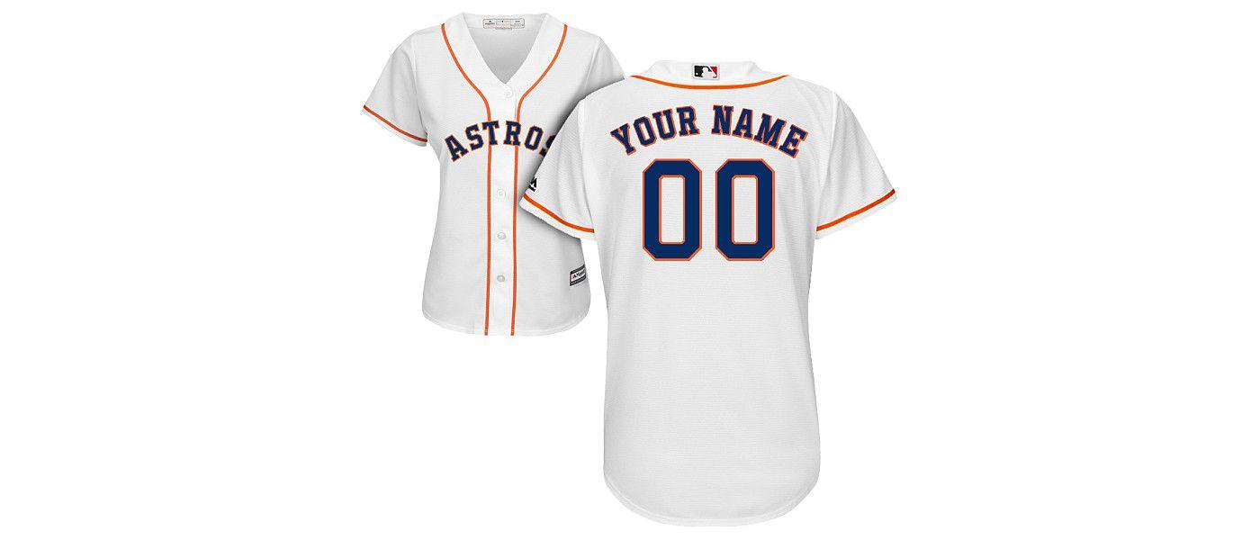 Majestic Women's Custom Cool Base Replica Houston Astros Home White Jersey
